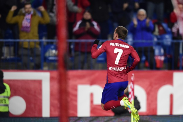 Griezmann celebrates after scoring two against Las Palmas