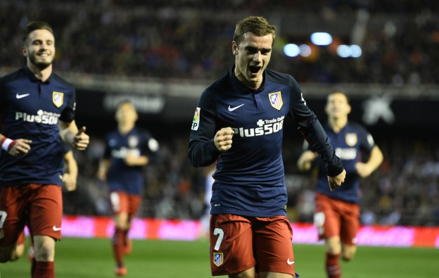 Griezmann celebrates the first goal against Valencia