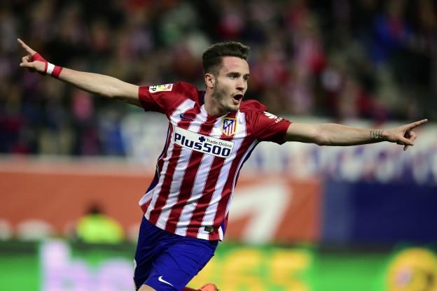 Saúl celebrates the opening goal against Deportivo