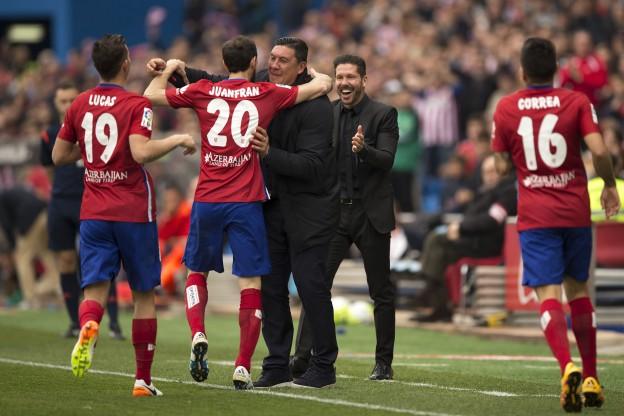 Juanfran celebrates a rare goal with Mono Burgos