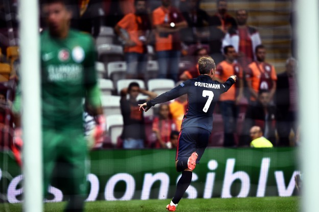 Griezmann celebrates after scoring his second against Galatasaray
