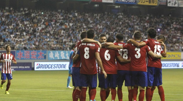 Players celebrate Koke's stunning Olympic goal