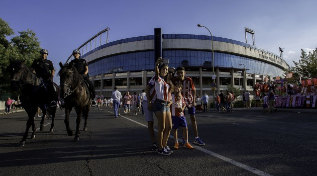Fans gather outside the stadium for today's game