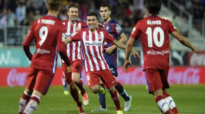 Correa celebrates scoring against Eibar
