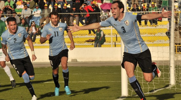 Diego Godín celebrates his goal against Bolivia