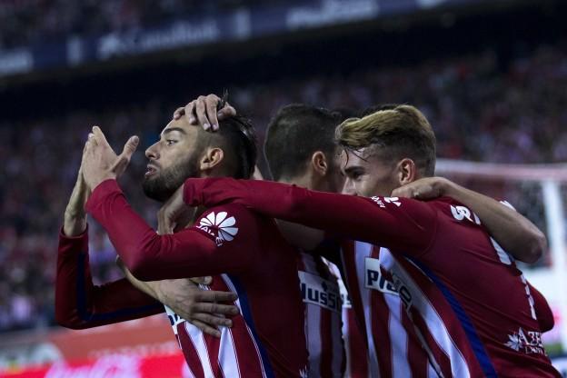 Carrasco celebrates for Atleti