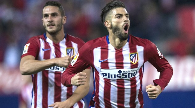 Carrasco celebrates his goal against Valencia