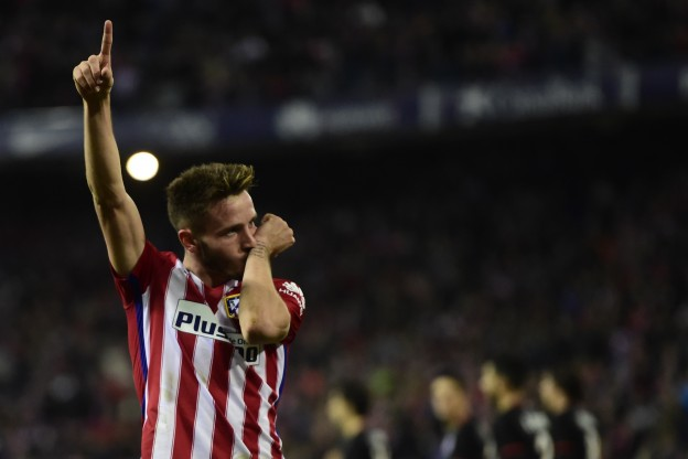 Saúl celebrates his goal against Athletic