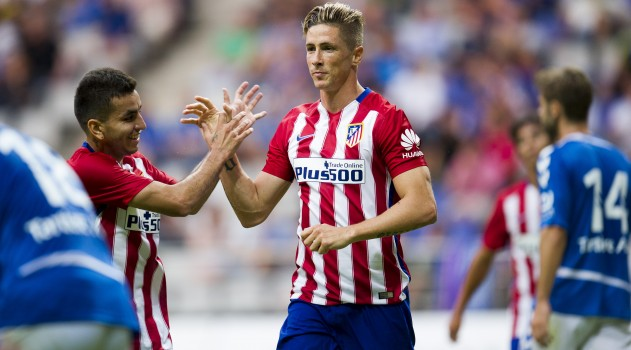 Torres celebrates scoring for Atlético earlier in the season