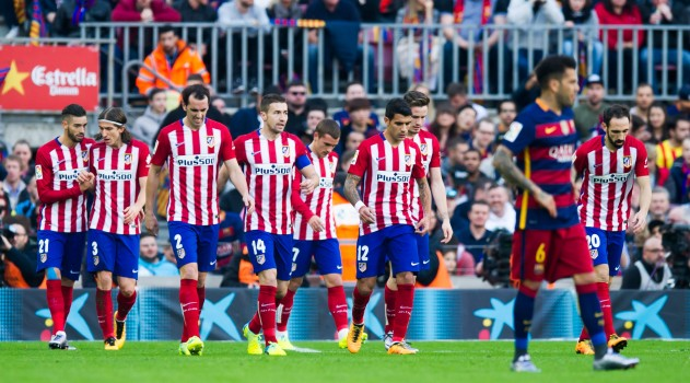 Augusto and Godín join the celebrations for Koke's opener in the Camp Nou