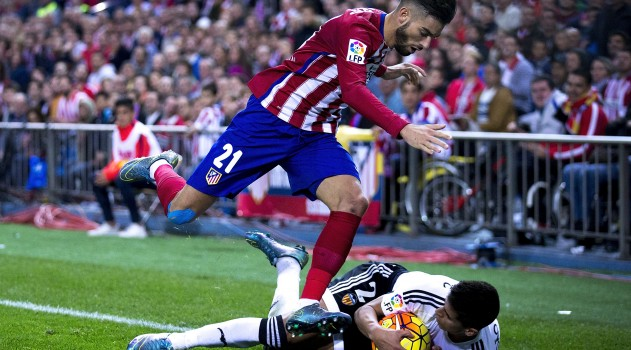 Carrasco battles hard against Valencia earlier this season