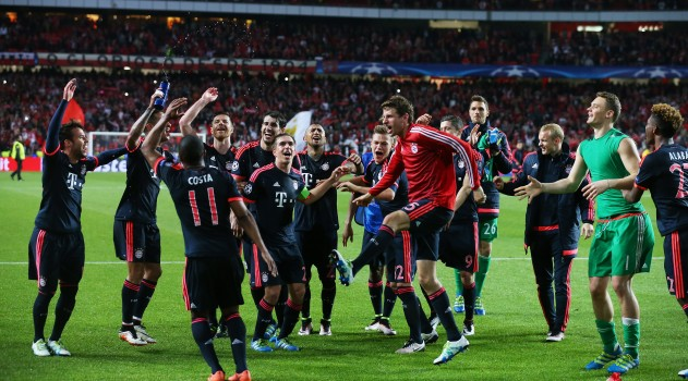 Bayern celebrate after going through against Benfica on Wednesday
