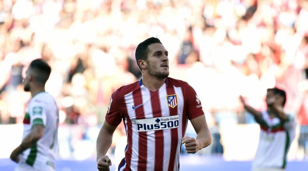 Koke celebrates scoring for Atlético