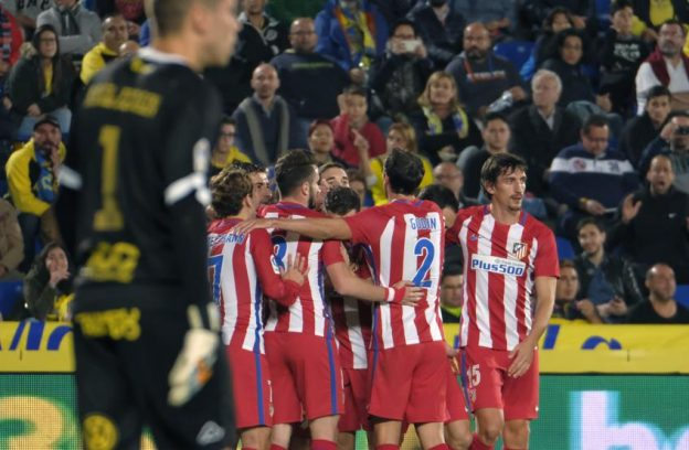 Koke and teammates celebrate Atleti's opening goal