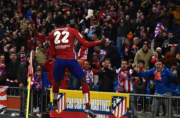 Thomas Partey celebrates scoring the winner for Atlético