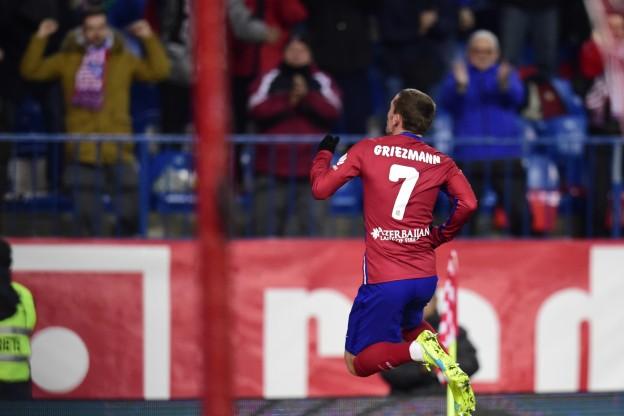 Griezmann celebrates after scoring two against Las Palmas