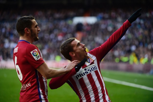 Griezmann celebrates scoring the only goal of the game against Real Madrid