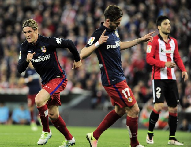 Fernando Torres celebrates the only goal against Athletic on Wednesday