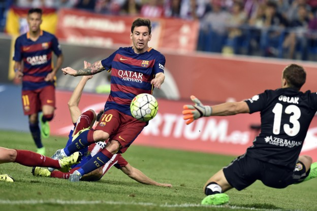 Messi scores after coming off of the bench against Atlético