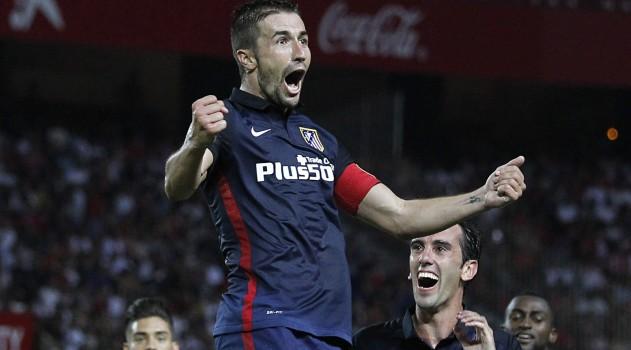 Gabi celebrates scoring in the Sánchez Pizjuán