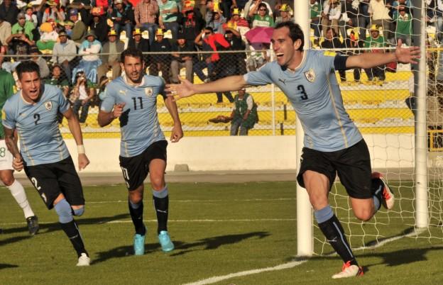 Diego Godín celebrates his goal against Bolivia