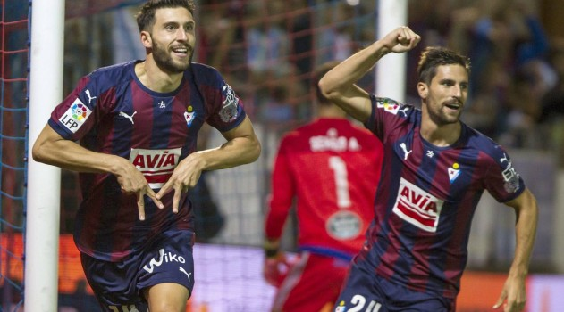 Borja celebrates scoring for Eibar