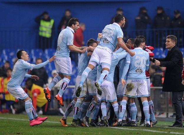 Guidetti celebrates scoring a screamer against Atleti