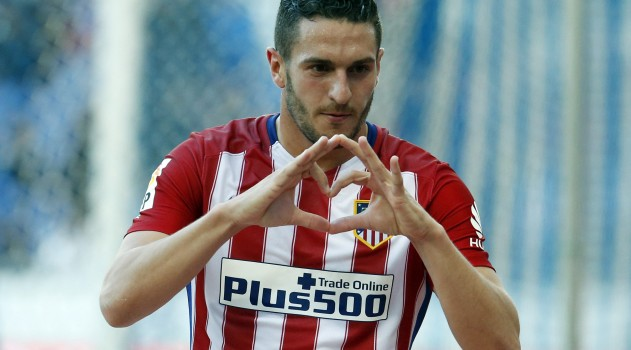 Koke celebrates after scoring against Espanyol