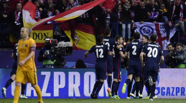 Players celebrate Griezmann's crucial first half goal