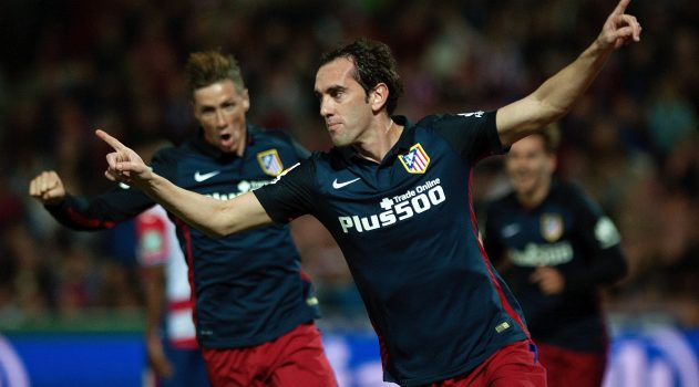 Godín celebrates scoring against Granada earlier this season