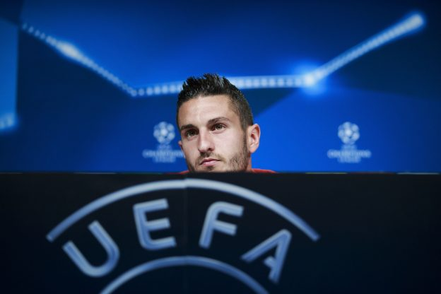 Koke speaks at yesterday's Champions League media open day