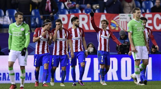 Players celebrate after Griezmann's goal