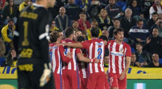 Koke and teammates celebrate Atleti's opening goal