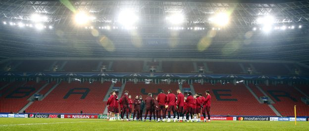 Atleti training at BayArena